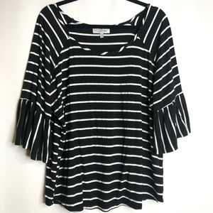 Striped Bell Sleeve Plus Size Top